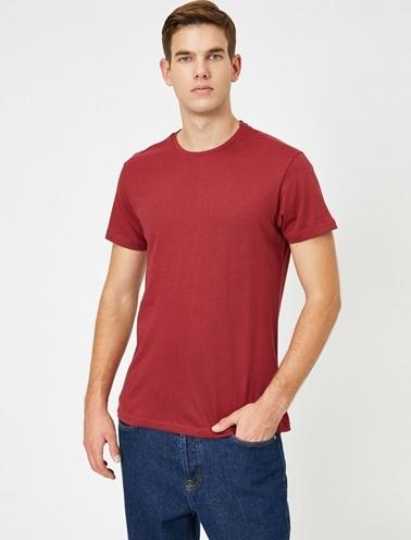 Koton Kisa Kollu Yuvarlak Yaka %100 Pamuk T-Shirt Bordo
